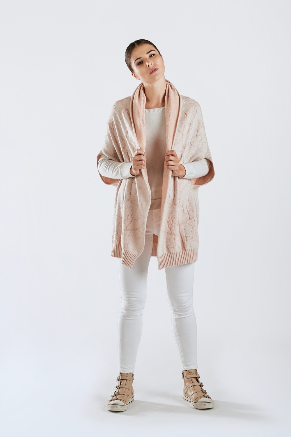 Pure Cashmere Hooded Cape Coat